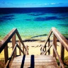 Blue beach boardwalk love.