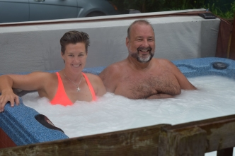 Hot tub experience. Thanks John for wearing bathers for me! He normally goes in there nude... ha!