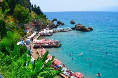 This beautiful coastline in Antalya, a relaxing place for a swim and a good view for lunch.