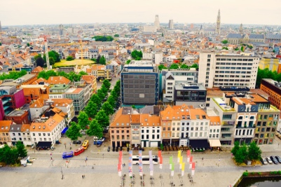 An aerial view of Antwerp, from one angle, from the roof of the central museum.