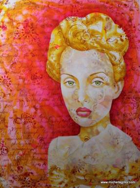 This beautiful woman representing a solo traveller. Painting by talented Michelle Gilks.