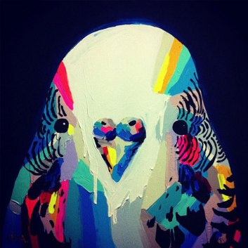 Love this little colourful budgie!! :)