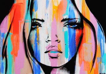 This is one of her defining images. An amazing cute and colourful female portrait. Love this!