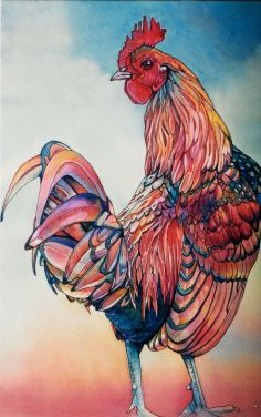 This lovely chicken came from jeannievodden.com I really love the colours chosen here and the interesting way it has been drawn. There really are so many talented artists out there!