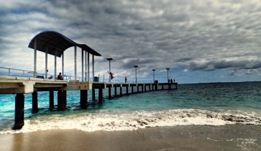 The iconic jetty along the foreshore at Jurien Bay. Notice the kid jumping off the jetty!? Nice one kid!