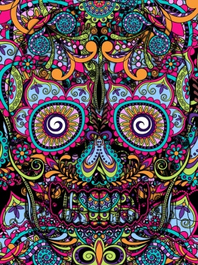Another awesome day of the dead drawing. We need to celebrate the dead more, and hope they are living just as colourful life 'on their holiday' after life.