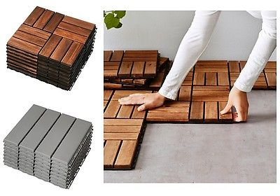 Ikea-RUNNEN-Wooden-Floor-Decking-TilesBrown-StainedGarden-Patio-_1
